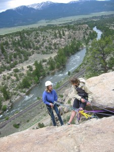 Rappeling with a view of the Arkansas River
