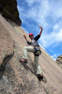 A great day of top rope rock climbing at Vedauwoo in Wyoming