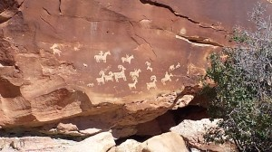 Ute Indians depict perhaps a hunt on a side trail to Delicate Arch