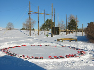 Snowshoeing is part of the ropes course on those days when the snow is perfect!